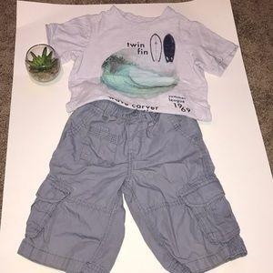 Boys GAP surf tee shirt and cargo short size 5